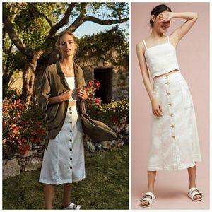 [Anthropologie] Riverine White Linen Midi Skirt